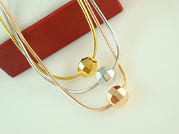 Wholesale 24k Ladies Plating Jewelry - High quality 24K Brass jewelry,Beautiful Color Seperation 3 Lines 3 Beads Ladies necklace 1mm 18inch