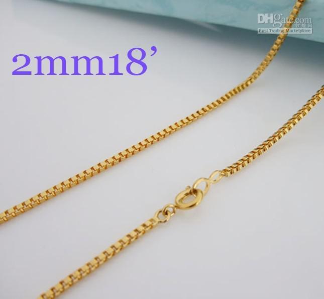 De haute qualité 24K bijoux en laiton, 2 mm chaîne boîte Collier bijoux laides 18 pouces