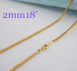 $enCountryForm.capitalKeyWord Canada - High quality 24K Brass jewelry,2mm Box chain Necklace Laides jewelry 18inch 10pcs