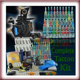 Wholesale Tattoo Starter Guns - 40 Inks Machine Gun Needles Set Beginner   Starter Tattoo Use Tattoo Kit Supply