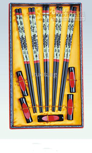 Hardcover Chinese Style 5 Chopsticks Set Presenter Trä Tryckt Peking Opera Gratis frakt