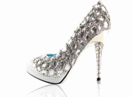 Wholesale Diamond White Wedding Shoes - Hand Sewing Top White Diamond Bride Wedding Shoes High-Heeled Shoes Size Custom Made