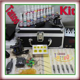 Wholesale Case For Tattoo Machine - Professional Tattoo Kit 2 Machine Guns Power Supply Ink Needle Metal Carrying Case for tattoo Artis