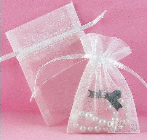 Gratis verzending 9x12cm 100 stks / partij Nieuwe witte organza sieraden cadeau tassen / doos / hete verkoop / mode