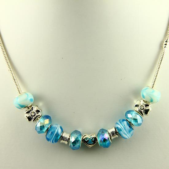 Nice chamilia charms necklaces with large hole murano troll glass beads jewelry Pnc010 cheap china fashion jewellery