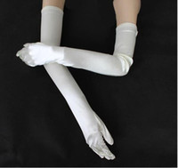 """Wholesale Elbow Length Gloves Colors - white wedding bridal lady stretchy Evenning satin gloves Opera Length 23"""" 10 colors"""