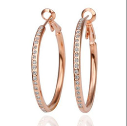 Wholesale Rose Gold Crystal Hoop Earrings - High quality plated 18K rose gold crystal rhinestone hoop earrings fashion jewelry for women free shipping 10pair lot