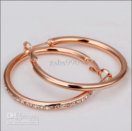 Gli orecchini del cerchio del cristallo di rocca placcati oro di alta qualità 18K hanno placcato i monili di modo trasporto libero / delle donne