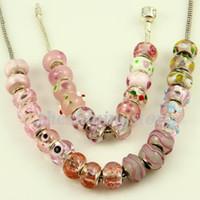 Wholesale Large Pink Beads - Pink style large hole biagi charm beads fits for charm bracelets