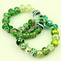 Green style Chamilia style murano lampwork glass beads with silver plated cores