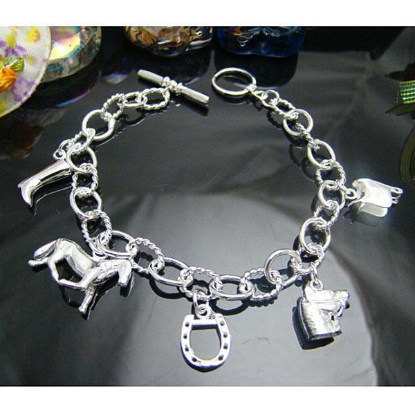 Venta al por mayor - - Precio más bajo al por menor Regalo de Navidad 925 de plata Colgante del caballo del caballo Pulsera de herradura Pulsera de cadena geométrica de plata H074