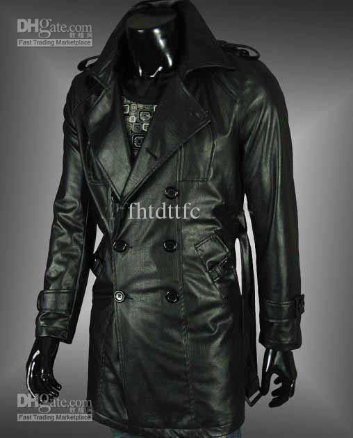 2012 Men's Long Black Leather Jacket Double Breasted With Epaulet ...