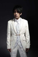 Wholesale Groom Summer Wedding Attire - White tuxedo 4-piece suits Groom Tuxedos Suit As Wedding Attire