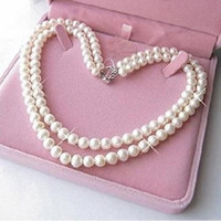 Wholesale Tahitian Pearls 8mm - fine 2Row 7-8mm White Tahitian Pearl Necklace 17'18inches 14k
