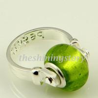 Wholesale Biagi Rings - Foil biagi charm finger rings with big hole murano troll glass beads jewellery Par009 cheap china fashion jewellery