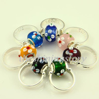 Wholesale Biagi Rings - Flower biagi charms finger rings with large hole murano troll lampwork beads jewelry Par010 cheap china fashion jewellery