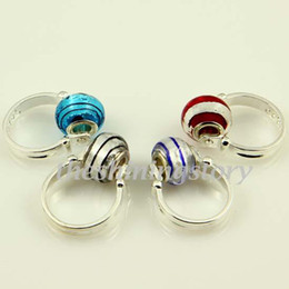 Wholesale Foil Beads - Foil european charms finger rings with big hole lampwork troll glass beads jewelry Par011 cheap china fashion jewelry