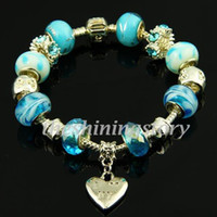 Wholesale Cheap Murano Glass Bracelets - Silver chamilia charms bracelets with big hole murano troll glass beads jewellery handmade cheap China fashion jewellery