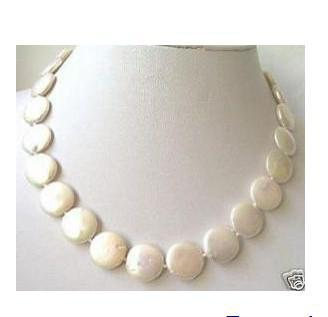 Joyería de perlas de mujer fina 100% natural 12-13mm True moneda blanca collar de perlas de 20 pulgadas 925silver