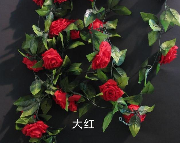 Carino 2 m seta rosa fiore rattan falso ghirlanda di ghirlande falso viti matrimonio festa di natale fiore artificiale decorativo rattan