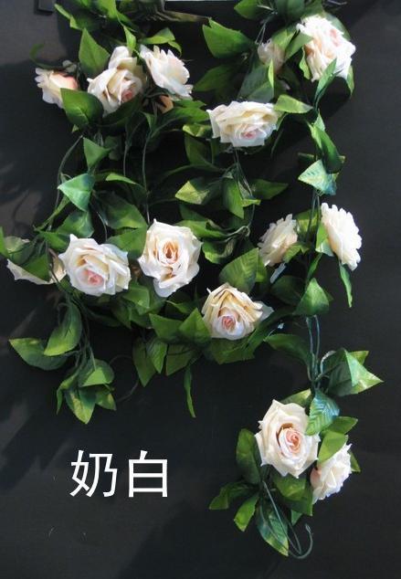 Cute 2M Jedwabny Róża Kwiat Rattan Fałszywy Peony Girland Fake Vines for Wedding Christmas Party Sztuczne Rattany Kwiat Dekoracyjny