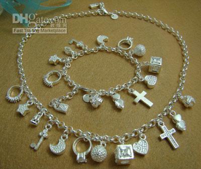 - розничная низкая цена рождественский подарок 925 Серебряное ожерелье + браслет комплект S072