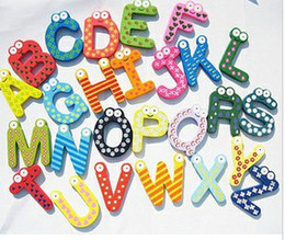 Wholesale Wooden Words Wholesale - Wholesale - 24pcs Wooden cute large wood Refrigerator Magnetic early education letters with 26 colo