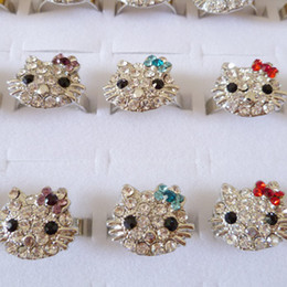 Wholesale Kt Jewelry - Cute Silver Plated KT Cat Rings,Wholesale Rhinestone Crystal Hello Kitty Adjustable Finger Rings For Girl Women Jewelry Accessories K726
