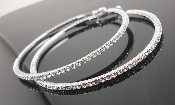 Fashion Jewellery 55MM Big Crystal Earring Hoop Circle Silver Plated Earrings