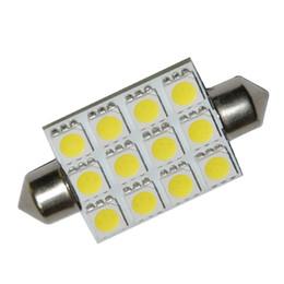 Wholesale 12 Smd Festoon - 50pcs - 42mm 12 LED 5050 SMD Light Festoon Dome Car Bulb Lamp Color White