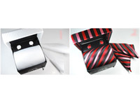 Wholesale White Gold Cufflinks Wholesale - 2015 New Arrive sell mens tie sets wedding ties Tie cufflinks pocket towel gift box 4 pcs set-849C