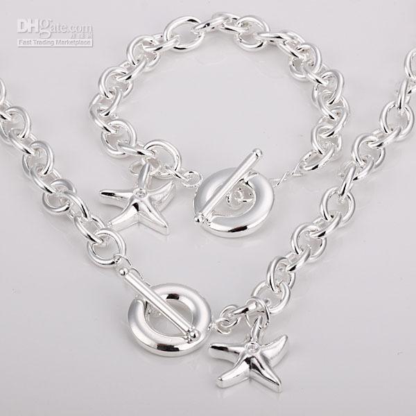 - розничная низкая цена рождественский подарок 925 Серебряное ожерелье + браслет комплект S107