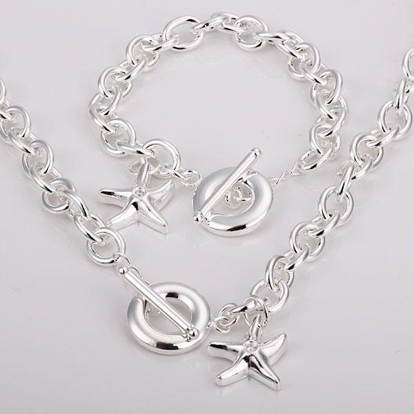 Partihandel - - Retail Lägsta pris Julklapp 925 Silver Halsband + Armband Set S107