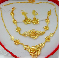Wholesale Bridal Jewelry Set 24k - 6%off!2015new arrival!Luxurious, noble!Delicate flowers !Bridal jewelry sets! 24K gold-plated! (Necklace +bracelet+ studs)