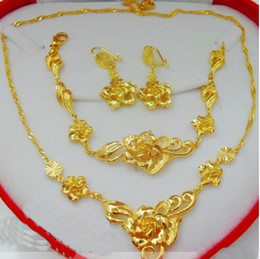 luxurious bridal set 2019 - 6%off!2015new arrival!Luxurious, noble!Delicate flowers !Bridal jewelry sets! 24K gold-plated! (Necklace +bracelet+ stud