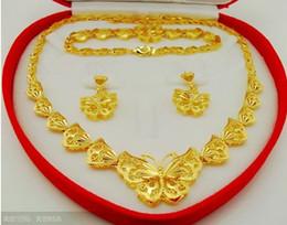 Conjunto de jóias de ouro delicado on-line-6% de desconto! 2015hot venda !! Borboletas delicadas! Conjunto de jóias de noiva high-end! Banhado a ouro 18k! (Colar + pulseira + brincos)