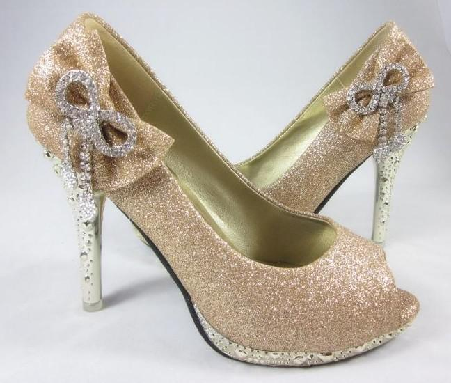 Women's Gold Color Waterproof Diamond Bow Dazzling Peep Toe High ...