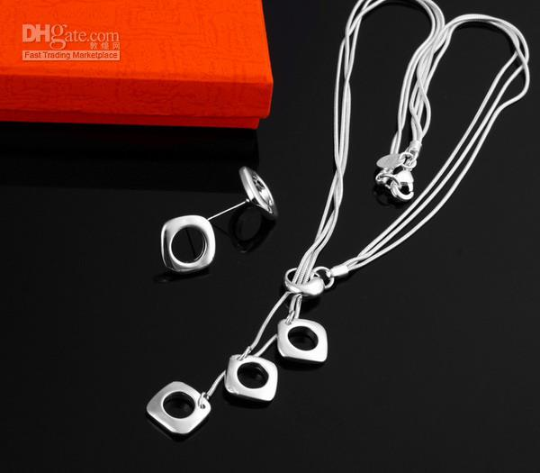 - розничная низкая цена рождественский подарок 925 Серебряное ожерелье + серьги комплект S118
