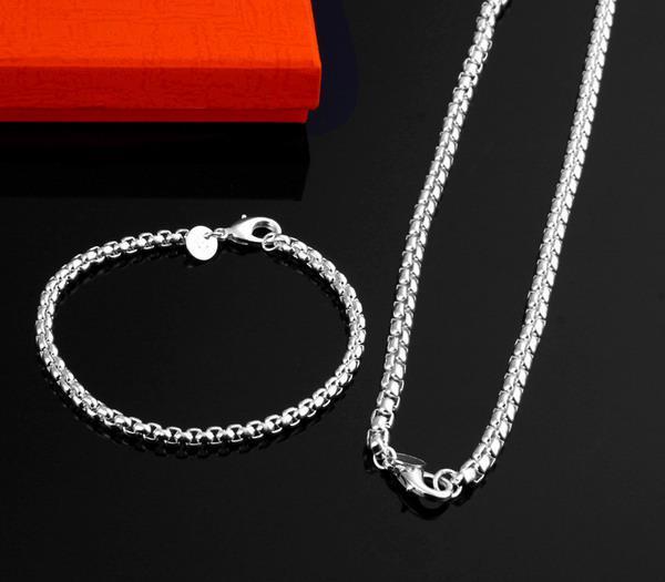 Partihandel - - Retail Lägsta pris Julklapp 925 Silver Halsband + Armband Set S121