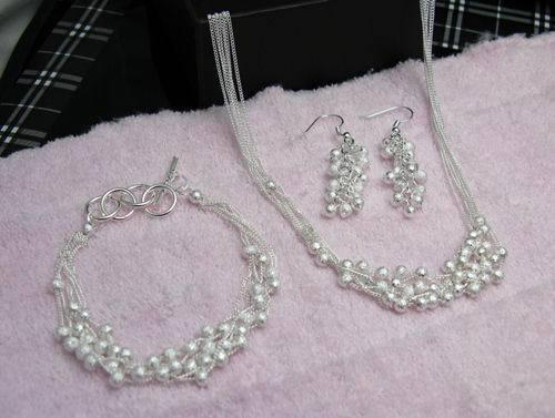 Partihandel - - Retail Lägsta pris Julklapp 925 Silver Halsband + Armband Set S126