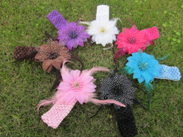 Wholesale Roses Crochet - 15pcs lot 7 colors for your pick 4'' rose flower with feather and Crochet headband Flower Headband Girls Hair Accessories