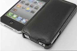 Wholesale Iphone Wholesale Case China - Free shipping China Post 10pcs lot black  redLeather Case for iPhone 4