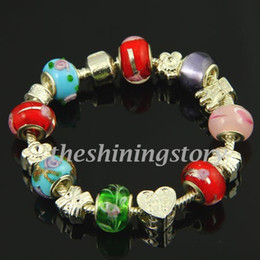 fancy chamilia charms bracelets with big hole lampwork troll glass beads jewellery handcrafted fashion jewellery cheap fashion jewellery