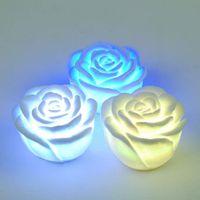 Wholesale Led Rose Floating Candles - LED rose romantic light Changing Color LED Floating Flower Night Light Candle Lights 50pcs