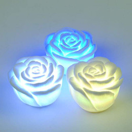 Wholesale Color Changing Candle Floating - LED rose romantic light Changing Color LED Floating Flower Night Light Candle Lights 50pcs