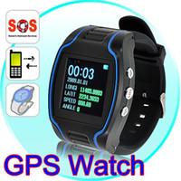 ver gsm sos al por mayor-GPS Reloj Rastreador GSM GPRS Personal GPS Sistema de Rastreo de la Muñeca Función SOS e_shop2008