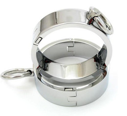 Wholesale Male Steel Wrist Restraints - Chrome-plated Steel Restraints Rings 2 Pieces with Magnet Locking Pins (L Size)