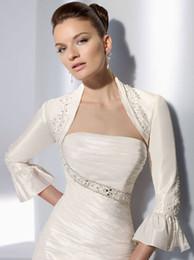 Wholesale Vintage Wedding Shawl Wrap - 2015 Vintage Wedding Bridal Beaded Bridal Wraps Mini Jackets Satin White Perfect for Wedding Dress Prom Dresses N45