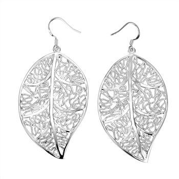 best selling Europe and selling real hollow section 925 leaves lovely silver earrings 20 Pair   Lot