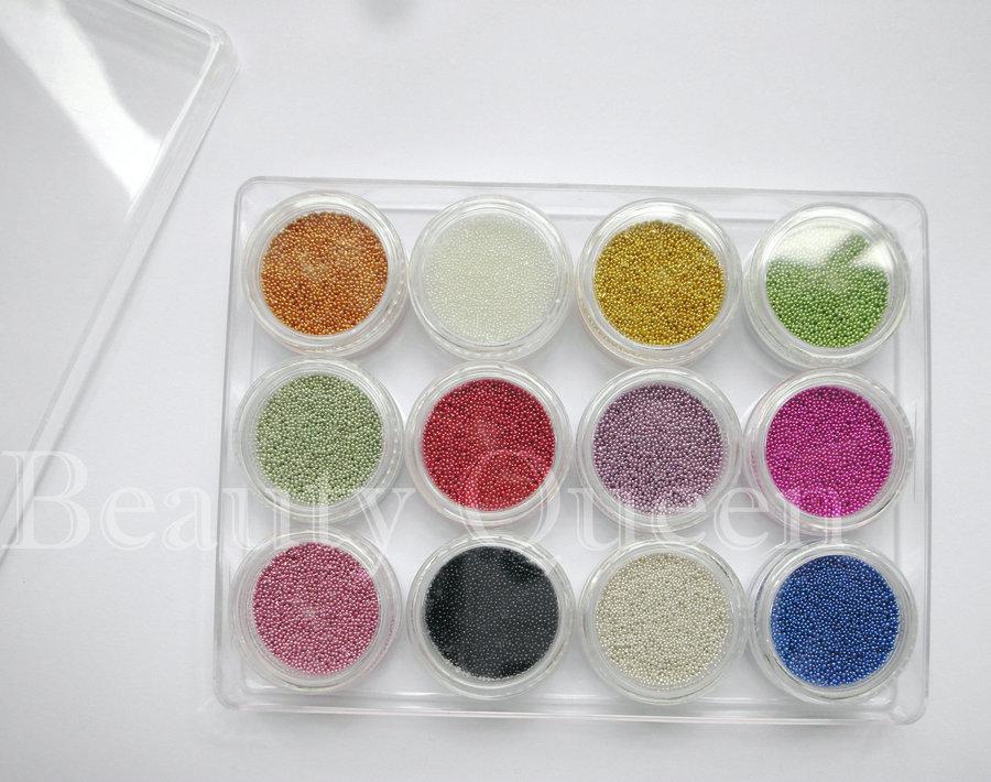 30 세트 / 몫 12 컬러 미니 구슬 콩 베어링 3D / UV 젤 아크릴 3D 네일 아트 반짝이 장식 팁
